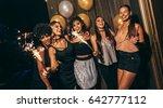 happy multiethnic friends... | Shutterstock . vector #642777112