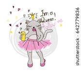funny kitten girl with phone.... | Shutterstock .eps vector #642779836