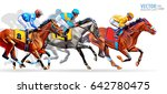 Stock vector five racing horses competing with each other with motion blur to accent speed vector illustration 642780475