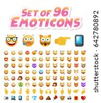 set of 96 cute emoticons on... | Shutterstock .eps vector #642780892