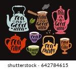 drink  tea  coffee label set.... | Shutterstock .eps vector #642784615