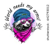 vector raccoon with hat and... | Shutterstock .eps vector #642793012