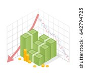 isometric icon pile of cash red ... | Shutterstock .eps vector #642794725