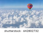 color hot air balloon in blue... | Shutterstock . vector #642802732