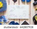 overhead view of traveler's... | Shutterstock . vector #642807928