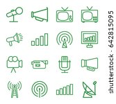 broadcast icons set. set of 16... | Shutterstock .eps vector #642815095