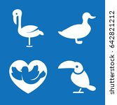 Set Of 4 Bird Filled Icons Suc...