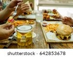view of hands of people eating...   Shutterstock . vector #642853678