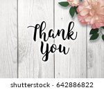 thank you with pink flower | Shutterstock . vector #642886822