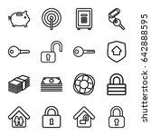 safe icons set. set of 16 safe... | Shutterstock .eps vector #642888595