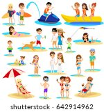 people on the beach set. summer ... | Shutterstock .eps vector #642914962