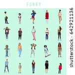 diverse of funky people... | Shutterstock . vector #642921136
