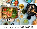dinner table with shrimp  fish... | Shutterstock . vector #642944092