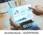 hands working on digital device ... | Shutterstock . vector #642959056