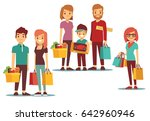 woman and man going shopping... | Shutterstock . vector #642960946