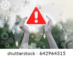 hands represent attention icon... | Shutterstock . vector #642964315