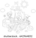 little children playing on a... | Shutterstock .eps vector #642964852