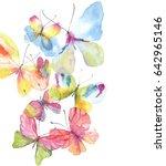 beautiful watercolor butterfly...   Shutterstock . vector #642965146