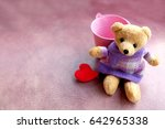 teddy bear wearing purple shirt ... | Shutterstock . vector #642965338