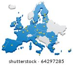 map of the european union. the... | Shutterstock .eps vector #64297285