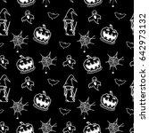 halloween doodle seamless... | Shutterstock .eps vector #642973132
