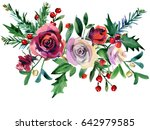 Stock photo christmas floral background winter holiday nature illustration watercolor red rose flower holly 642979585