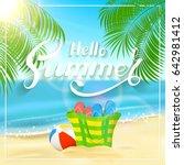 sun  sparkling ocean and palms. ... | Shutterstock .eps vector #642981412