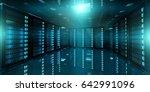 dark server room data center... | Shutterstock . vector #642991096