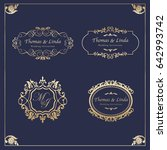 vintage wedding labels vector | Shutterstock .eps vector #642993742