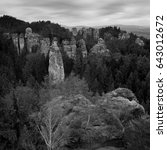 black and white rock valley... | Shutterstock . vector #643012672