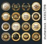 sale retro vintage golden... | Shutterstock .eps vector #643017598