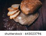 rustic  rural home made bread... | Shutterstock . vector #643023796