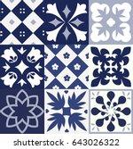 blue portuguese tiles pattern   ... | Shutterstock .eps vector #643026322