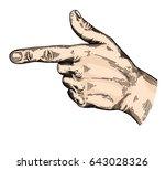 hand gesture sketch.... | Shutterstock .eps vector #643028326
