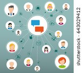 speech bubbles with icons and... | Shutterstock .eps vector #643029412