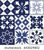 blue portuguese tiles pattern   ... | Shutterstock . vector #643029802