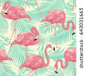 Flamingo Bird And Tropical Pal...