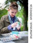 girl drawing handcrafting | Shutterstock . vector #643043116