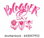 happy blogger day  text design. ...
