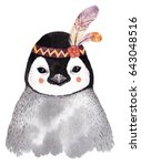 Stock photo watercolor penguin portrait cute boho design with feathers nursery prints with animals posters 643048516