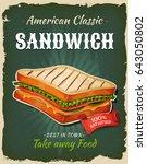 retro fast food sandwich poster ... | Shutterstock .eps vector #643050802