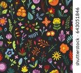 seamless floral vintage pattern.... | Shutterstock .eps vector #643051846