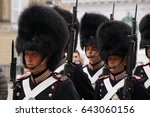 COPENHAGEN, DENMARK - MAY, 07, 2017: Replacement of the Guards in Parliament - stock photo