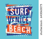 surf venice beach typography ... | Shutterstock .eps vector #643063075