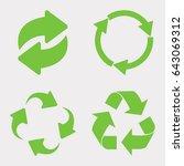 green recycle icon set vector | Shutterstock .eps vector #643069312