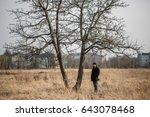 sad solitary man walking... | Shutterstock . vector #643078468