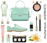 vector fashion accessories set 5 | Shutterstock .eps vector #643084372