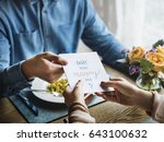 romantic man giving will you... | Shutterstock . vector #643100632