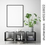 mock up poster frame in hipster ... | Shutterstock . vector #643110022