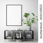 mock up poster frame in hipster ... | Shutterstock . vector #643110022